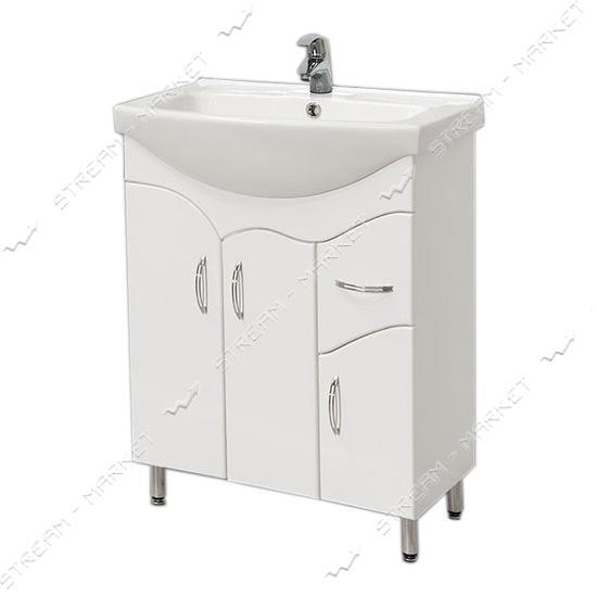 Тумба для ванной комнаты белая Изео 65/1 умывальник Изео 65
