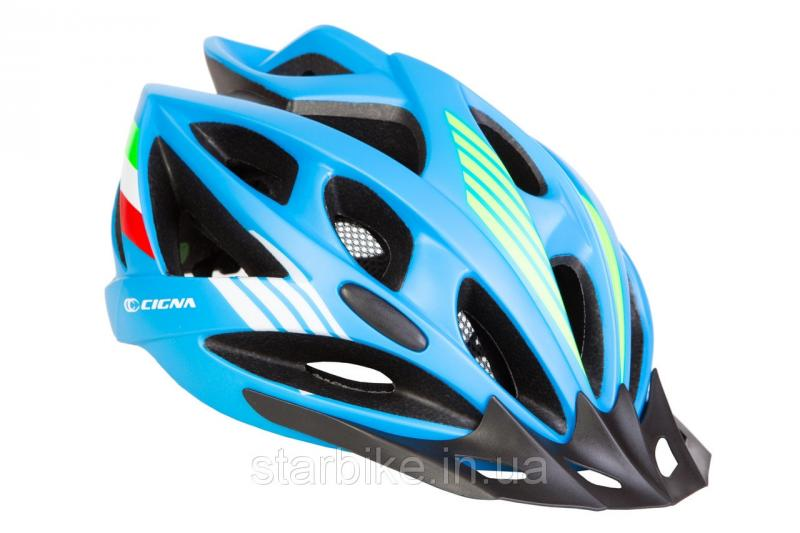 Шлем велосипедный с козырьком СIGNA WT-036 М (54-57см) (синий)