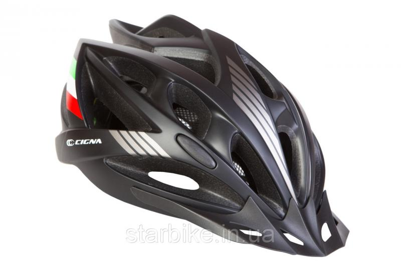 Шлем велосипедный с козырьком СIGNA WT-036 М (54-57см) (черный)