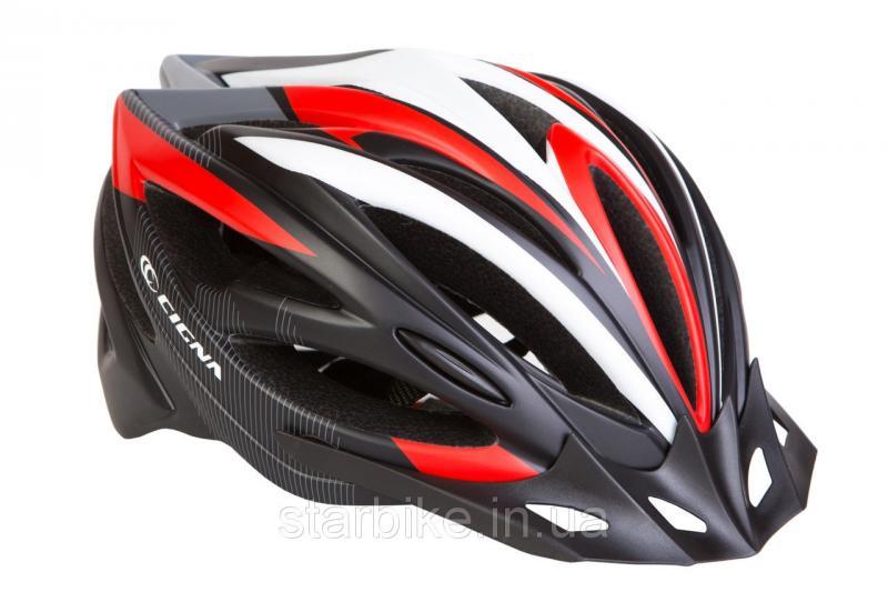 Шлем велосипедный с козырьком СIGNA WT-068 М (54-57см) (черно-бело-красный)