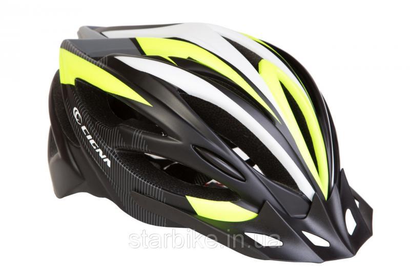Шлем велосипедный с козырьком СIGNA WT-068 М (54-57см) (черно-бело-салатный)