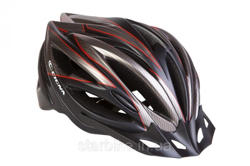 Шлем велосипедный с козырьком СIGNA WT-068 М (54-57см) (черно-красный)