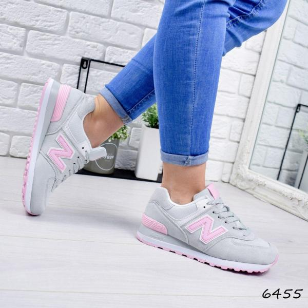 Кроссовки женские в стиле N серый + розовый