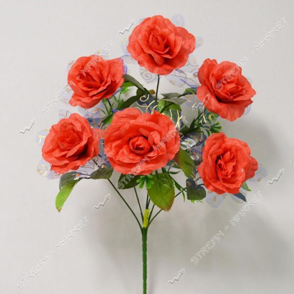 Букет искусственный Роза с вуалью 6 голов высота 400мм