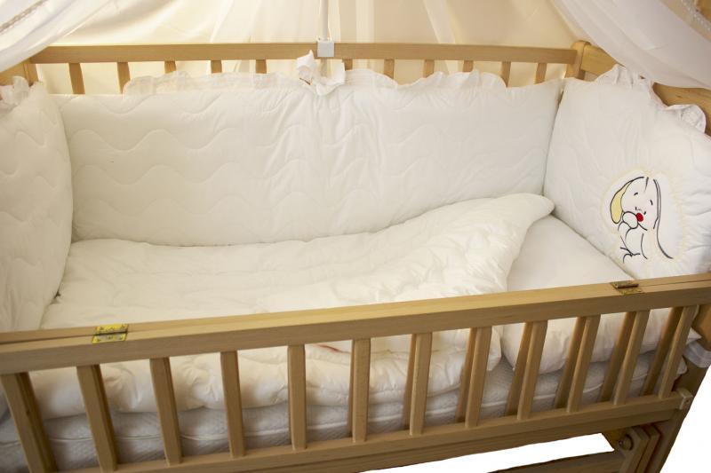 """Комплект в детскую кроватку """"Magic cradle"""" (волшебная колыбель), 7 предметов (цвет белый)"""