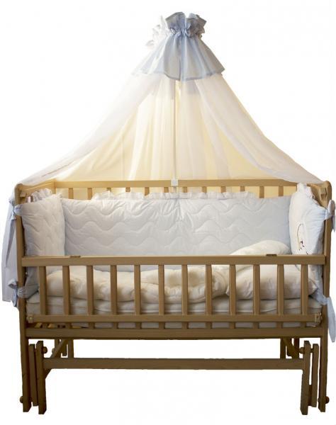 """Комплект в детскую кроватку """"Magic cradle"""" (волшебная колыбель), 7 предметов (цвет голубой)"""