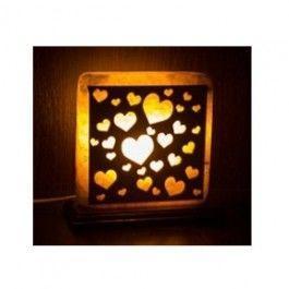"""Соляная лампа """"Сердца"""" квадрат"""