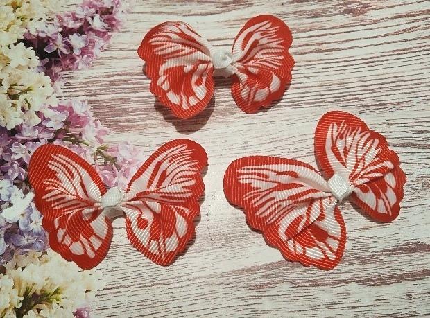 Бантик  65 * 50 мм.  из  Репсовой  ленты  в  виде  бабочки .