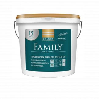 Латексная краска для стен и потолков KOLORIT (КОЛОРИТ) Family, А, 9л