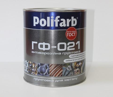 Антикоррозионная грунтовка для металла ГФ-021 ГостЕмаль, Polifarb, красно-коричневая, 0,9кг