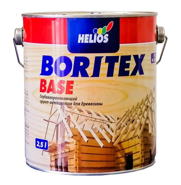 Грунтовочный антисептик для древесины HELIOS BORITEX Base, 2,5л
