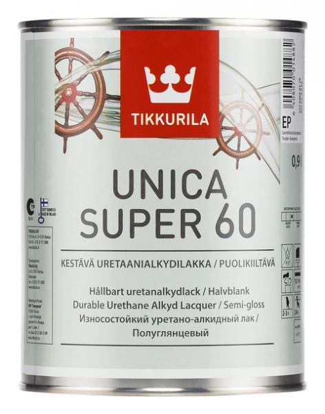 Уретано-алкидный полуглянцевый лак Уника Супер (Unica Super), Тиккурила (Tikkurila), EP, 0,9л