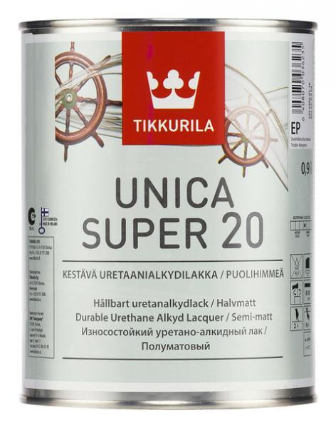 Уретано-алкидный полуматовый лак Уника Супер (Unica Super), Тиккурила (Tikkurila), EP, 0,9л