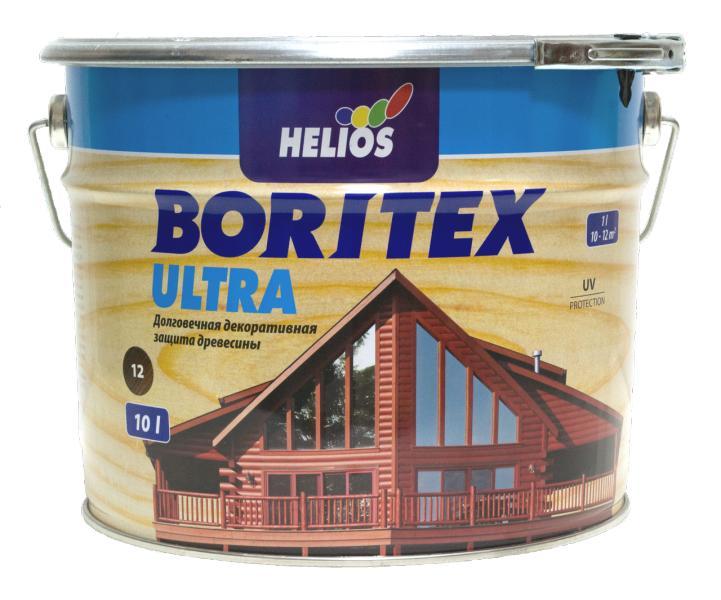 Лазурь для дерева с содержанием воска HELIOS BORITEX Ultra, орех, 10л