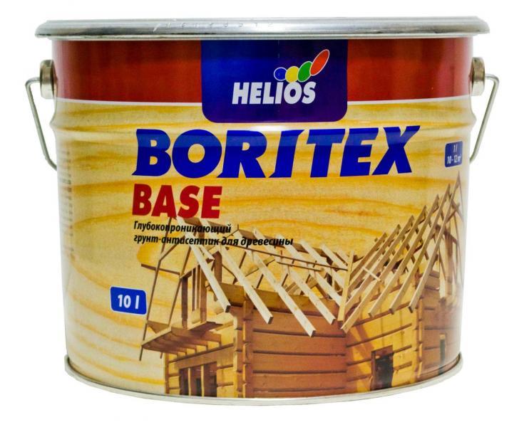 Грунтовочный антисептик для древесины HELIOS BORITEX Base, 10л