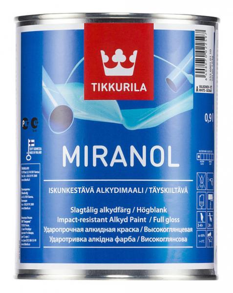 Алкидная высокоглянцевая эмаль Миранол (Miranol), Тиккурила (Tikkurila), А, 0,9л