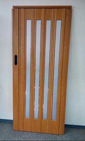 Дверь гармошка остекленная 860х2030х12 мм Вишня 501 (зеркало)