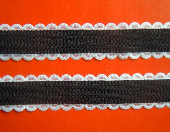 Фото Ленты,  Декоративные  тканевые  ленты . Лента  декор  тканевая .  Ширина  2 см.   Чёрная  с  белыми  декор.  краями.