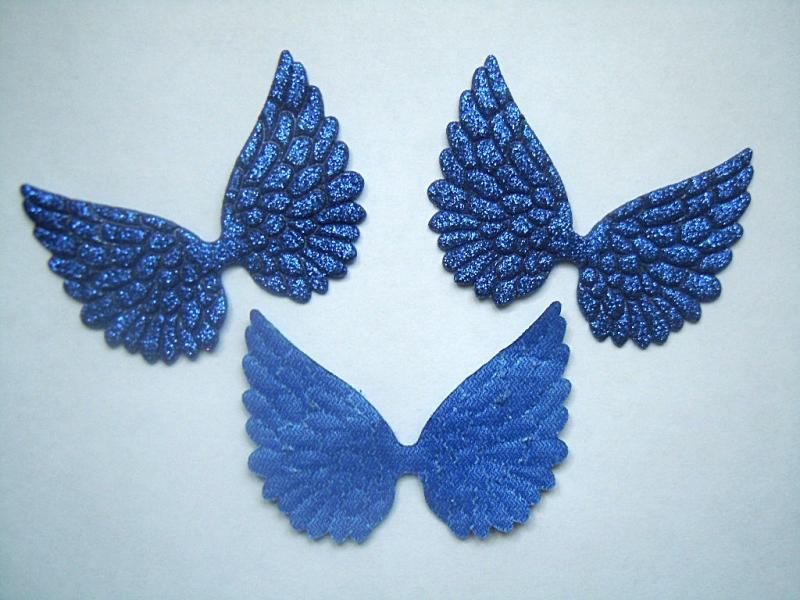 Крылья   58 * 45 мм.  Экокожа  с  Синим    глитерным  покрытием.