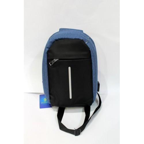 Рюкзак кросс-боди Bobby через плечо c защитой от карманников, с USB зарядным и портом для наушников. синий