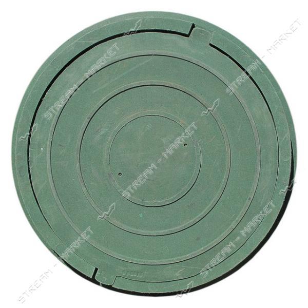 Люк канализационный полимерпесчанный зеленый 1 т (диаметр крышки ф-620мм, высота люка h-50мм)