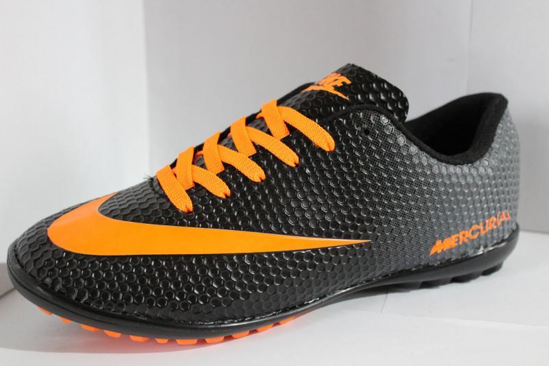 Футбольные кроссовки(копы) Nike Mercurial сороконожки на шнуровке для игры в футбол на шнурке черные