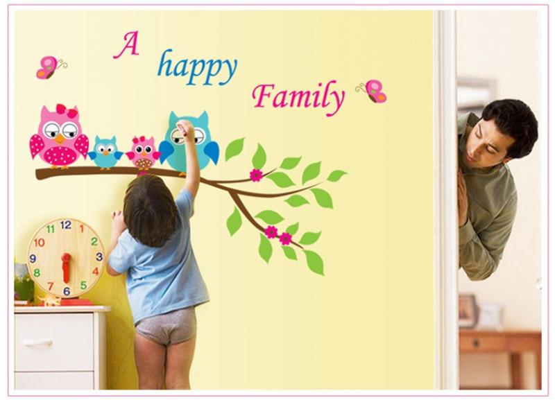 Детская интерьерная наклейка на стену Совы Семья  AY6013