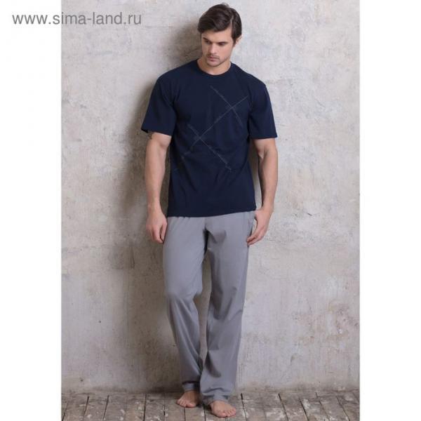 Домашний комплект мужской (футболка, брюки) PDK-176 цвет темно-синий, р-р 46