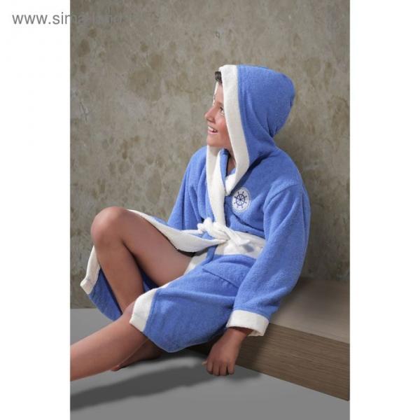Халат детский махровый с капюшоном Silver, 8-9 лет, цвет голубой 913/1