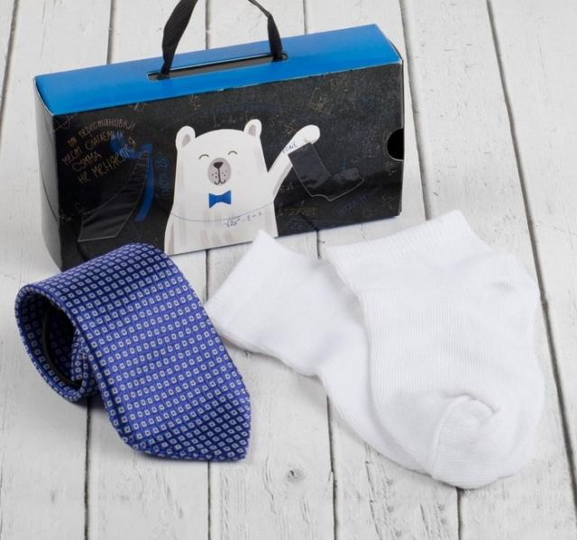 "Набор для мальчика ""Для самого делового"" галстук 28 см, носки 14 р-р, п/э, синий/белый"