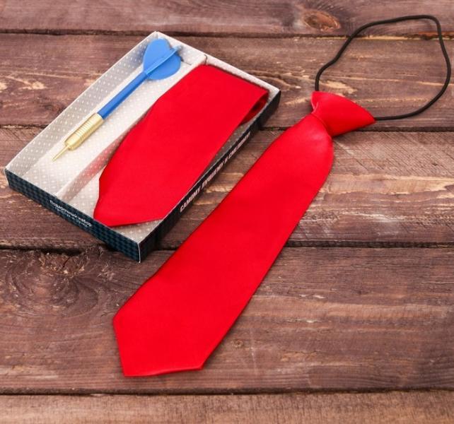 """Подарочный набор: детский галстук и ручка-дротик """"Самому лучшему и смелому"""""""