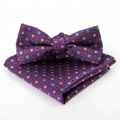 Набор детский: галстук-бабочка 10х5, платок 18х18, п/э, фиолетовый