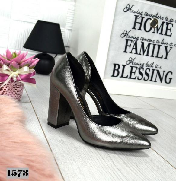 Туфли кожаные женские LUXOR на устойчивом каблуке