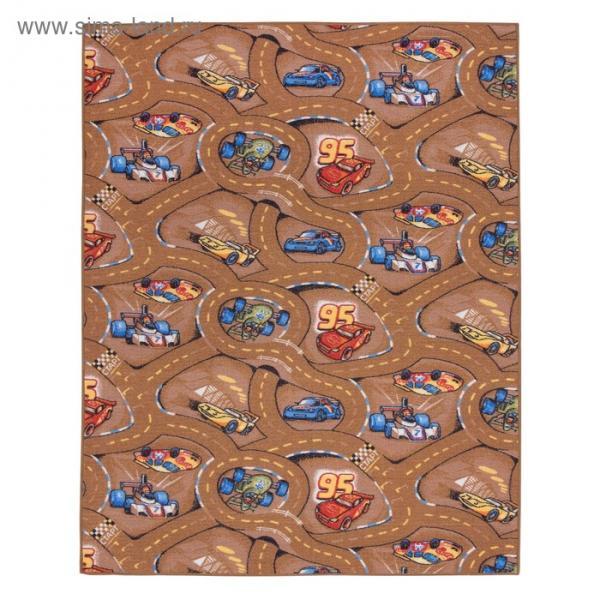 Палас принт Гонки 170, размер 150х200 см, цвет бежевый, полиамид
