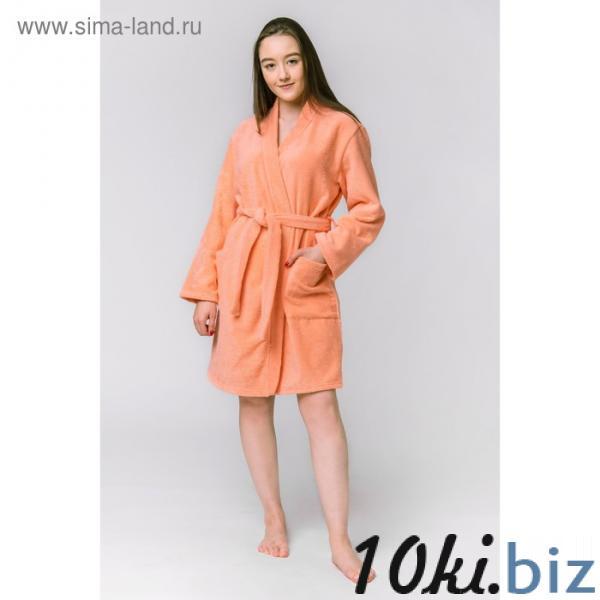 Халат махровый «Экономь и Я», женский р-р 42-44 персиковый, 340 г/м², хл.100% с AIRO купить в Беларуси - Халаты женские