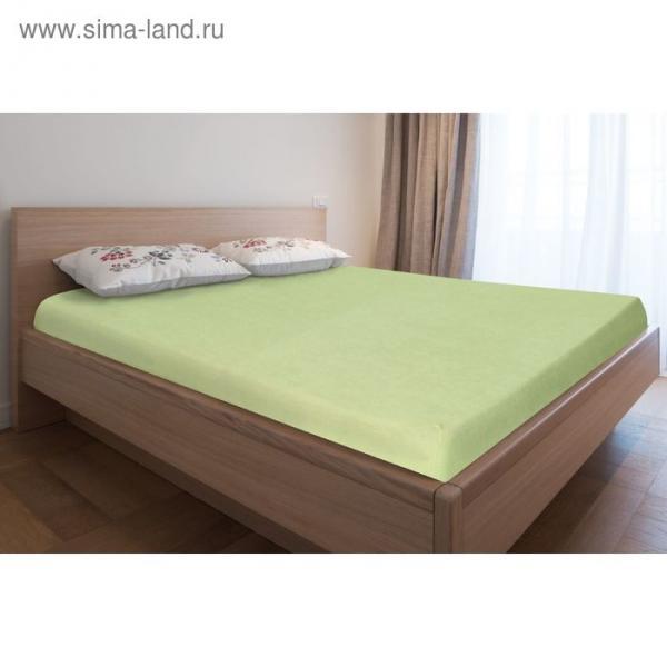 Простыня махровая на резинке, 80х200х20, цвет салатовый, 160 гр/м2