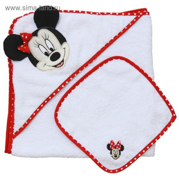 Набор для купания «Микки Маус», пелёнка 75х75 см, рукавичка, красный