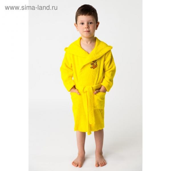 Халат махровый детский Динозаврик, размер 30, цвет жёлтый, 340 г/м² хл. 100% с AIRO