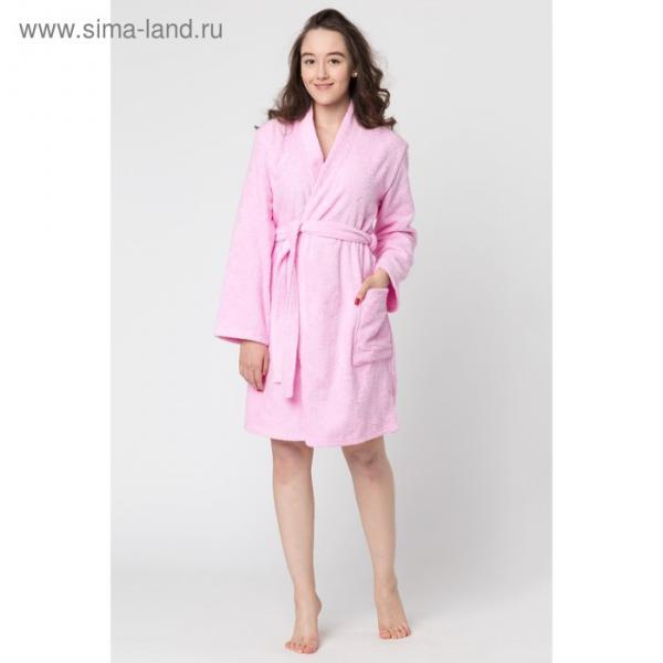 Халат махровый «Экономь и Я», женский р-р 42-44 розовый, 340 г/м², хл.100% с AIRO