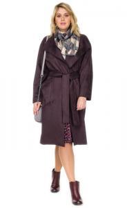 Фото  Пальто женское прямого силуэта эко замши