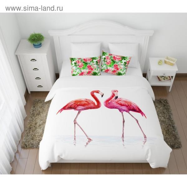 КПБ «Фламинго» евро, размер 220 × 240 см, 200 × 220 см, 50 × 70 см-2 шт