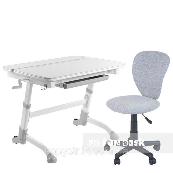 Комплект растущая парта Volare Grey + детский компьютерный стул LST2 Grey FunDesk