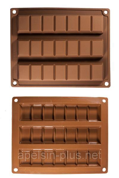 """Силиконовая форма для шоколада и мармелада """"Батончики"""" на 3 ячейки (17,6 см на 3,8 см)"""