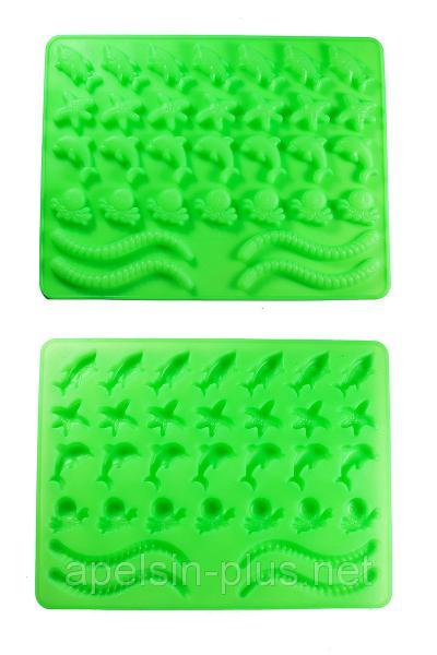 """Силиконовая форма для желейных конфет """"Морские жители"""" из 32 фигурок"""