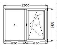 Вікно металопластикове (двохстороння ламінація золотий дуб) 1300*1400