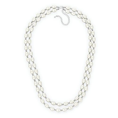 Двойное ожерелье из белого жемчуга, 45см