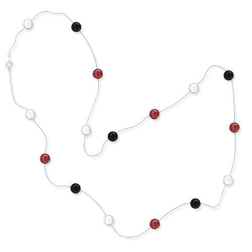 Серебрянное ожерелье с цветными бусинами 88см