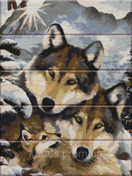 """ASW 013 """"Волки"""" Картина по номерам на дереве 30х40 см"""