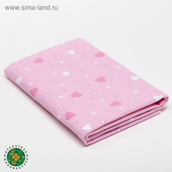 Пелёнка детская Розовые сердца 75×120 см, фланель, 160 г/м², 100% хлопок