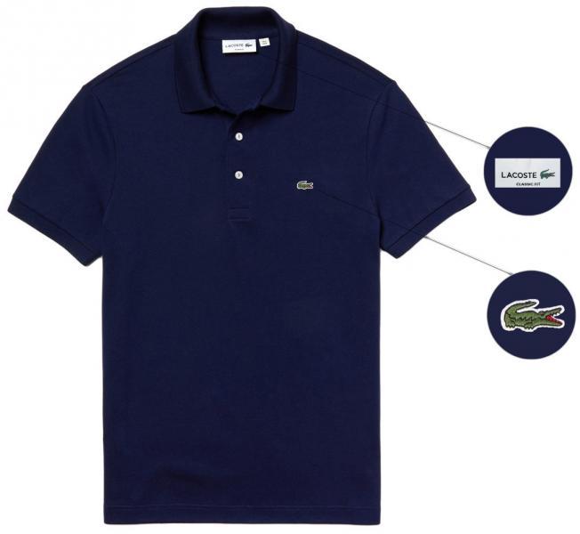 Мужская футболка поло Lacoste (Premium-class) темно-синяя